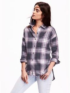 Plaid Flannel Boyfriend Shirt | Old Navy