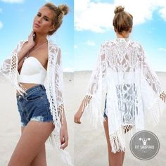 Sexy Lace Long Tassel Cardigan