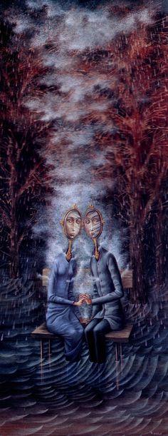 Los Amantes, Remedios Varo. davidcharlesfoxexpressionism.com #remediosvaro #surrealistpaintings #surrealism