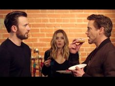 Chris Evans, Robert Downey Jr and Elizabeth Olsen Marvel Funny, Marvel Dc Comics, Marvel Heroes, Marvel Avengers, Captain America Civil War, Captain America Funny, Marvel Civil War, Captain America Youtube, Dc Movies