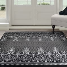 Lavish Home Royal Garden Rug, Black