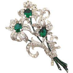 Vintage Trifari Green Clear Rhinestone Enamel Floral Fur Clip from themorethemerrier on Ruby Lane