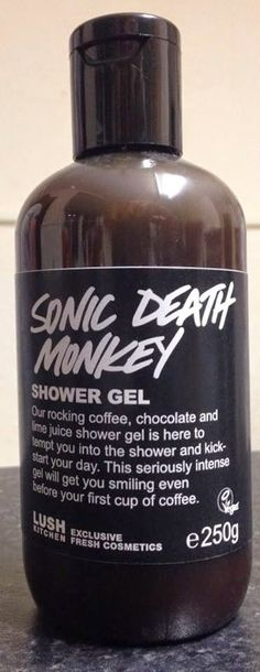 "Sonic Death Monkey Shower Gel: ""Our rocking coffee, chocolate and lime juice shower gel is here to tempt you into the shower and kick-start your day. This seriously intense gel will get you smiling even before your first cup of coffee"""