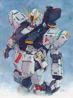 Nu Gundam watercolor by Trunnec.deviantart.com on @DeviantArt