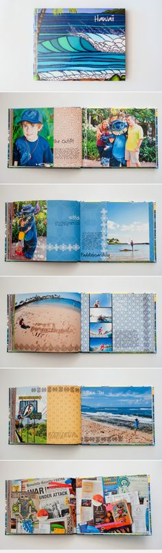 Using coloured papers and elements to create a tropical travel photobook! surf and sea design