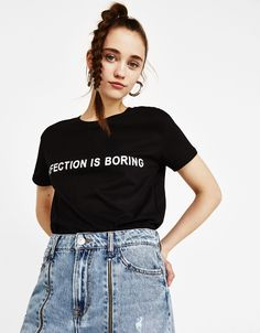 """""""Perfection is boring"""" ecologically grown cotton printed T-shirt - Bershka #fashion #product #tshirt #tee #camiseta #young #girl #text #quote #printed #texto #perfection #boring #inspiration #quote"""