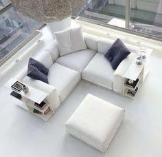 Divano ad angolo - Piccolo divano angolare bianco