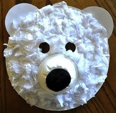 Polar Bear Mask The kids will love creating this cute polar bear mask! The furry texture is white tissue paper. This would be a great project to go along with a study of Arctic animals. The post Polar Bear Mask was featured on Fun Family Crafts. Kids Crafts, Bear Crafts, Craft Activities For Kids, Animal Crafts, Projects For Kids, Craft Ideas, Winter Activities, Snowman Crafts, Bear Mask