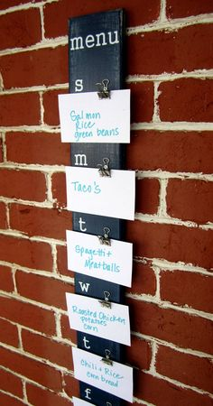 Menu Board - pre-make notecards w/recipe on the back - I could make this!!