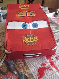 Because I Said So (and Other Mommyisms): DIY Pull-String Lightning McQueen Pinata Lightning Mcqueen, 3rd Birthday Parties, Halloween Ideas, Craft Projects, Party Ideas, Crafts, Diy, Manualidades, Bricolage