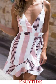 Deep V Neck Abstract Print Vertical Striped Casual Dresses – pretty casual dresses,casual summer dresses,fashion style dress,womens fashion casual dresses,nice dresses Spring Dresses Casual, Trendy Dresses, Dresses For Sale, Nice Dresses, Dresses With Sleeves, Dress Casual, Dress Summer, Dress Sale, Summer Outfits