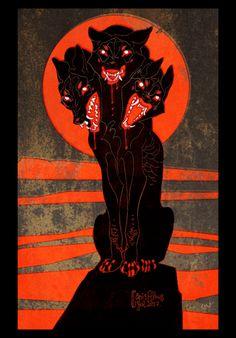 Staedtler pigment liner and Gimp. Artwork ©CanisAlbus Hound of Hades Arte Horror, Horror Art, Art Inspo, Dessin Old School, Arte Van Gogh, Arte Obscura, Art Et Illustration, Psychedelic Art, Aesthetic Art