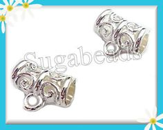 10 Bright Silver Plated Scroll Design Bails 11mm by sugabeads