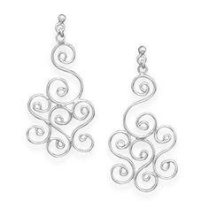 Sterling Silver Post Earrings with Swirl Design Drop