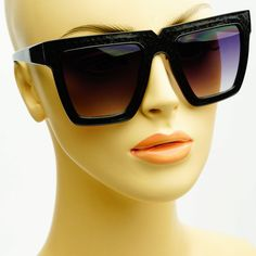 Designer Black Snake Print Retro Style Square Large Flat Top Sunglasses