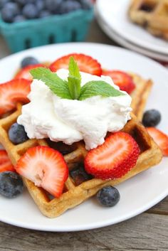 Blueberry Yogurt Waffle Recipe on twopeasandtheirpod.com The perfect breakfast for Memorial Day and the 4th of July! Waffle Recipes, Vegan Recipes, Greek Yogurt Recipes Breakfast, Breakfast Dishes, Breakfast Waffles, Funnel Cakes, Profiteroles, Cannoli, Kitchen