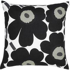 "Marimekko Pieni Unikko Black 20"" Pillow in Pillows | Crate and Barrel"