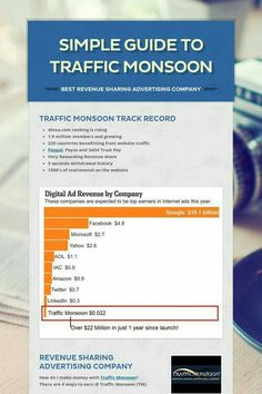 """That's simple!!! Let's see TrafficMonsoon-Advertising Services!!! Your any affiliate can advertising on TrafficMonsoon. With Sharing Position""""AdPack""""  This selection provides you with 20 Pay-Per-Click Banner Credits, 1000 Traffic Exchange Credits, and 1 Revenue Sharing Position. This is a $50 purchase. By clicking a minimum of 10 ads in the traffic exchange, you'll continue to share in site revenues up to $55.00 on each sharing position you have.  wanna see so go on its free registered."""