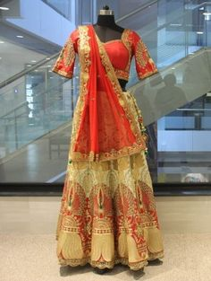 Red and Cream Silk Lehenga Choli With Handwork Work