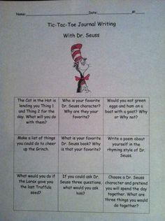 This activity consists of nine different Dr. Seuss journal prompts in a tic-tac-toe format. Children can choose their three favorite Dr. Seuss prom...