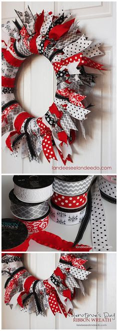 Easy DIY Valentine's Day Ribbon Wreath Decoration Tutorial                                                                                                                                                                                 More