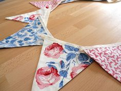 Country Cottage Bunting Vintage style with ROSES by WittyDawnUK