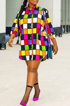 Just add pants - Shyfull Casual Plaids Patchwork Multicolor Mini Shirt Dress Curvy Girl Fashion, Plus Size Fashion, Black Floor Length Dress, Mini Shirt Dress, T Shirt, African Print Fashion, Cheap Dresses, Sexy Dresses, Casual Dresses