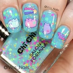 Pusheen nails! For these I used @chichicosmeticsofficial Plastic Fantastic Confetti for the base and Pusheen water decals from @shopkeeki! You can use my code vicsnails10 for 10% off at @shopkeeki I coloured in the back of the water decal with white polish to make sure Pusheen stood out on my nail, otherwise it can be a bit transparent. I used my Miracle Mat from @myblisskiss and Peachy 000 brush from @mitty_burns to colour in the decal (you can get 10% off your purchase at www.mitty.com.a
