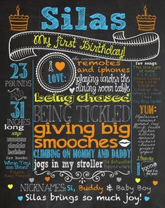 *******Customized first birthday chalkboard poster, yes!