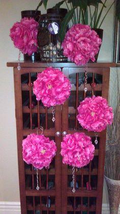 Hot Pink Pomanders with bling! :  wedding ceremony diy pink Pomanders
