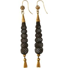 Fine Antique Victorian 18 carat yellow gold and hair mourning pendant earrings - circa 1870
