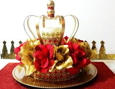 NEW Red and Gold Baby Shower CROWN Centerpiece / Boys Red and Gold Prince Baby Shower Theme and Decorations