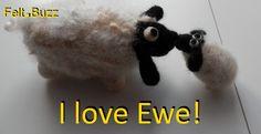 I Love Ewe!  Felt sheep by Felt.Buzz