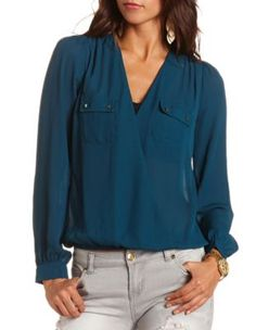 Surplice Front Chiffon Blouse from Charlotte Russe    Get 50% off select styles here - http://studentrate.com/School/Deals/BackToSchool.aspx