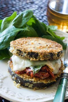 Eggplant Parmesan Stacks. Cook the eggplant in the panini press.