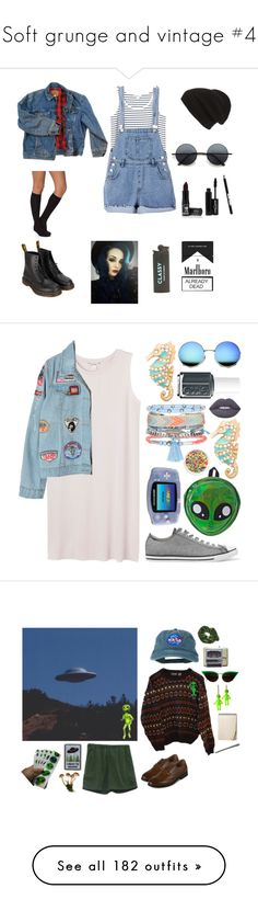 """""""Soft grunge and vintage #4"""" by dreamingsock ❤ liked on Polyvore featuring Wrangler, Monki, Dr. Martens, Vogue, Phase 3, Manic Panic NYC, Retrò, Chicnova Fashion, Converse and Comeco"""