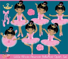 African-American Ballerina2 Clipart Set by 1EverythingNice on Etsy