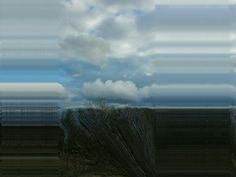 """Stretched clouds"" a picture I took at the quarry in Duluth, MN. Edited with Glitch and Photosuite."