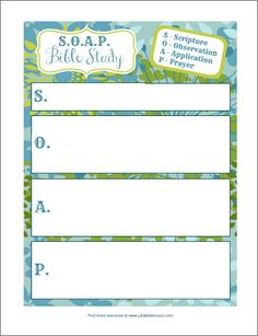 S.O.A.P. Bible Study Form Printable. Beautiful plan sheets for many things- including women's ministry events
