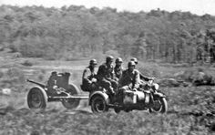 Motorcycle and artillery