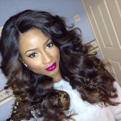 Those waves, that color, and the hot pink lips...makeup & hair perfection!