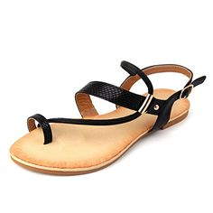 Mu Dan Thong Flat Gladiator Summer Sandals 8 B M US BLACK *** You can get additional details at the image link.
