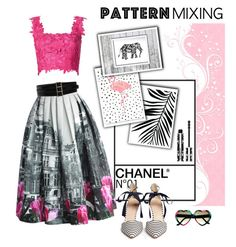 """""""#patternmixing"""" by hellodollface ❤ liked on Polyvore featuring Chicwish, Monique Lhuillier, Givenchy, J.Crew, Oscar de la Renta and patternmixing"""