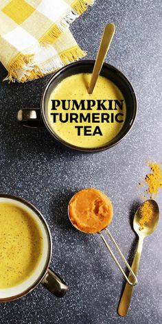 This Pumpkin Spice Turmeric Tea Latte is Golden Milk with a fall makeover! Brimming with warm, autumn spices, this good-for-you turmeric tea contains anti-inflammatory compounds and antioxidants.