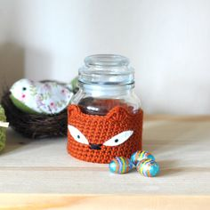 Fox Candy Jar, Vintage Storage Jar with Lid by Cassiopeia Knit Designs, UK