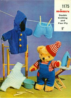 Knitting Patterns For Teddy Bear Clothes Pdf Vintage Knitting Pattern 13 14 Teddy Bear With Clothes In Double Knitting Yarn. Knitting Patterns For Ted. Knitting Bear, Teddy Bear Knitting Pattern, Knitted Teddy Bear, Crochet Teddy, Double Knitting, Knitting Patterns, Teddy Bears, Teddy Bear Patterns Free, Crochet Patterns