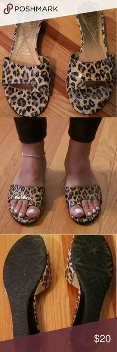 """Anne Klein Toe-loop Slide Sandal Elevate your casual outfits with these Leopard easy slide in mini wedges from Anne Klein. Good condition, worn once. Has some stain on one of the sandals (does not show when wearing on)  - 1 1/2"""" heel - Leather upper and manmade sole - Made in China Anne Klein Shoes Sandals"""