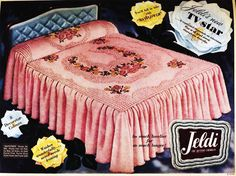 Jeldi chenille bedspread, 1958 Vintage Advertisements, Vintage Ads, Vintage Homes, Vintage Stuff, Bedroom Vintage, 1950s Bedroom, Vintage Bedding, Rustic Vintage Decor, Vintage Blanket