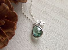 Snowflake Ice Pendant Jewelry Necklace, Sterling Silver, Mint Green, Winter Gift, Gift for Her, Holiday Sparkle