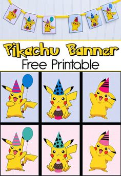 Throwing a Pokemon Party? Print out these free Pikachu Party Banner printables to create cute Pokemon Birthday Party Decor. Pikachu Party, Pokemon Themed Party, Birthday Pikachu, Pikachu Cake, Pikachu Pikachu, Happy Birthday Pokemon, Festa Pokemon Go, Cute Pokemon, Pokemon Pokemon